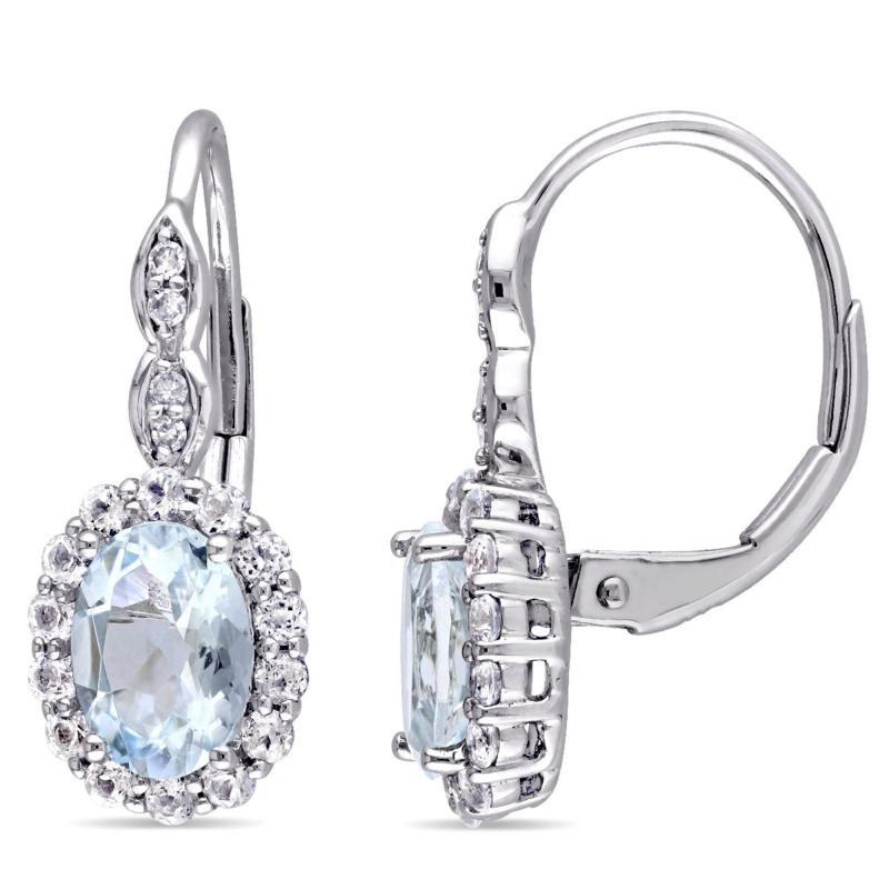 2.08ctw Aquamarine, White Zircon & Diamond 14K Earrings
