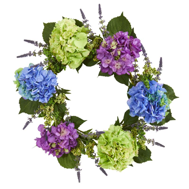"22"" Hydrangea Artificial Wreath"