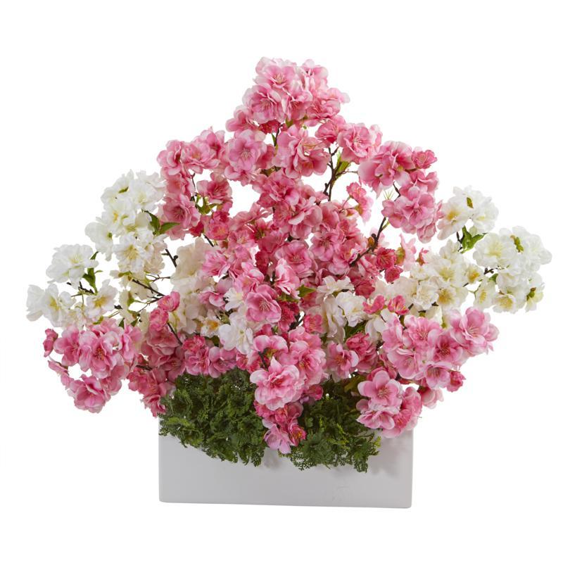 22 in. Cherry Blossom Artificial Arrangement in White Vase