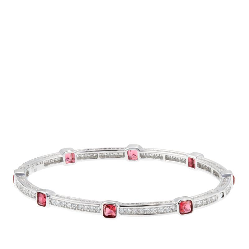 3.12ctw Absolute™ and Simulated Ruby Bangle Bracelet