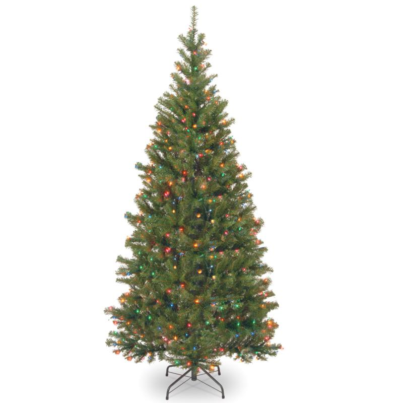 7' Aspen Spruce Hinged Tree w/Multicolor