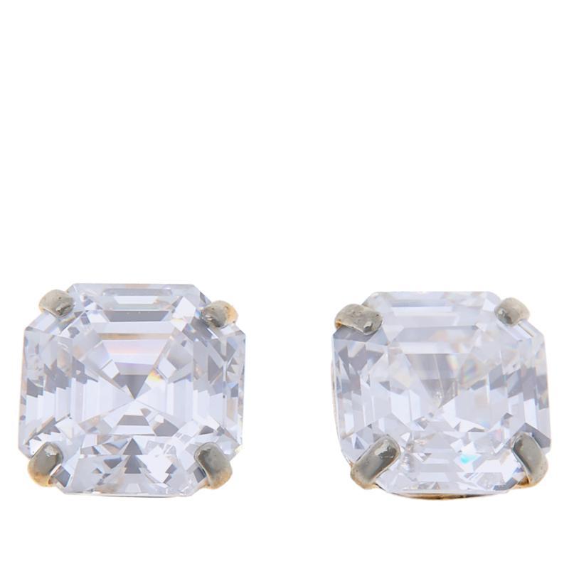 Absolute™ 14K Gold Cubic Zirconia Asscher-Cut Earrings - 4ctw