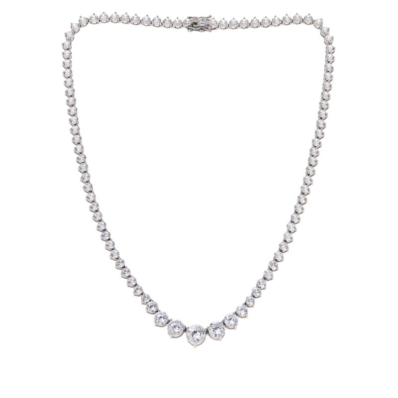"""Absolute™ 18"""" Graduated Sterling Silver 120-Facet Round Necklace"""