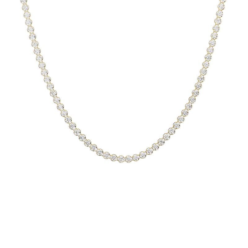 """Absolute™ 20"""" Sterling Silver CZ Round Stone Tennis Necklace"""