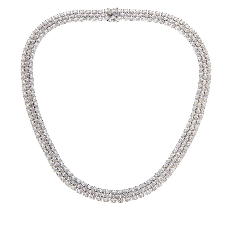 """Absolute™ 20"""" Sterling Silver CZ Triple Row Oval Stone Tennis Necklace"""