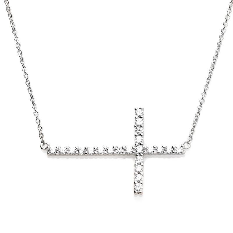 Absolute™ .45ctw Cubic Zirconia Sideways Cross Necklace