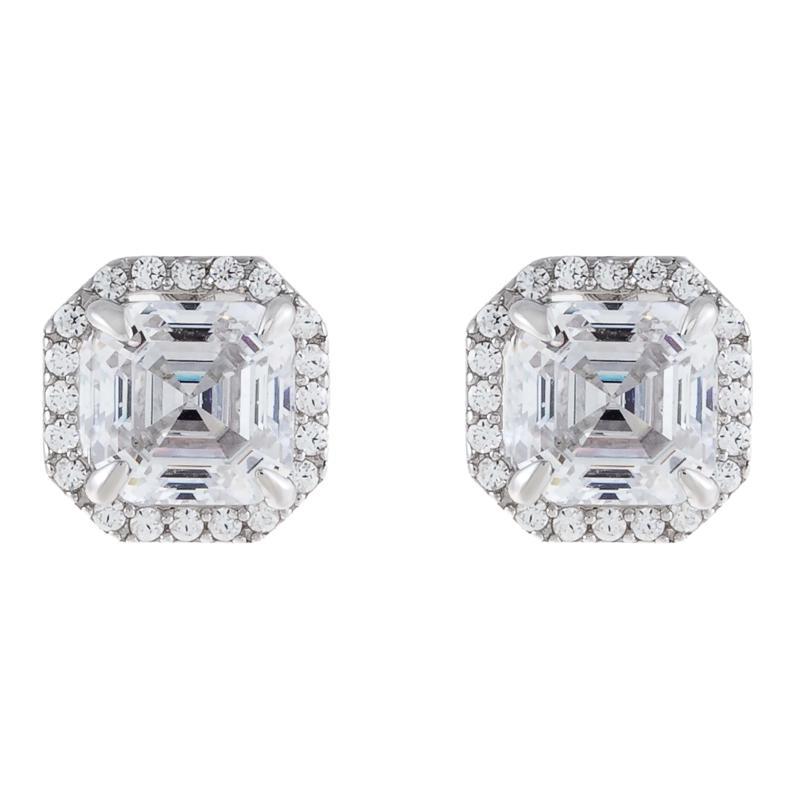 Absolute™  Cubic Zirconia Asscher-Cut Halo Stud Earrings