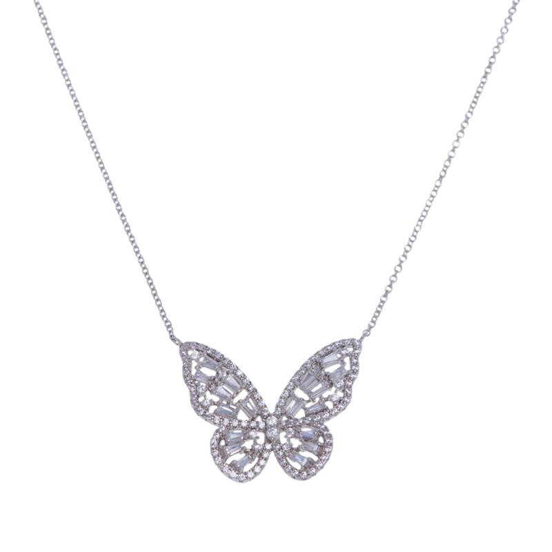 Absolute™  Cubic Zirconia Butterfly Baguette and Round Drop Necklace