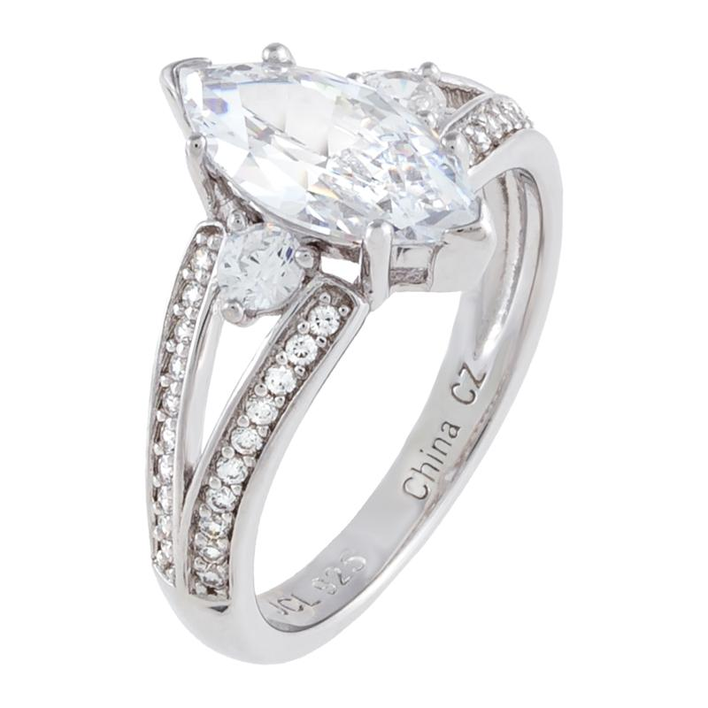 Absolute™ Cubic Zirconia Marquise-Cut Center Engagement Ring