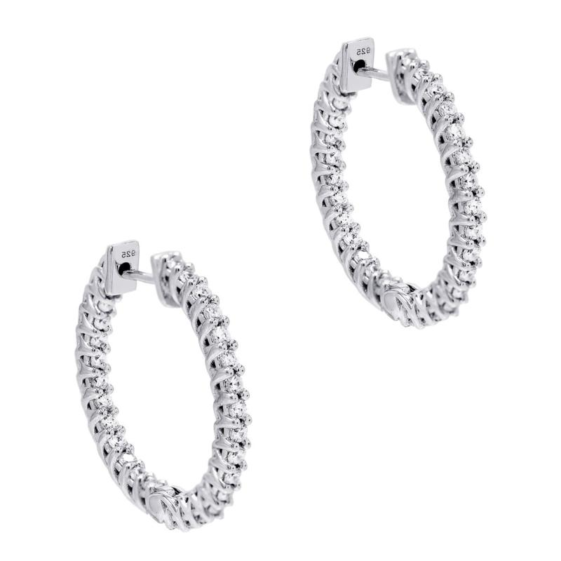 Absolute™ Cubic Zirconia Round Inside-Outside Hoop Earrings