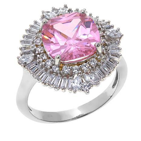 Absolute™ CZ and Simulated Pink Sapphire Baguette and Round Ring