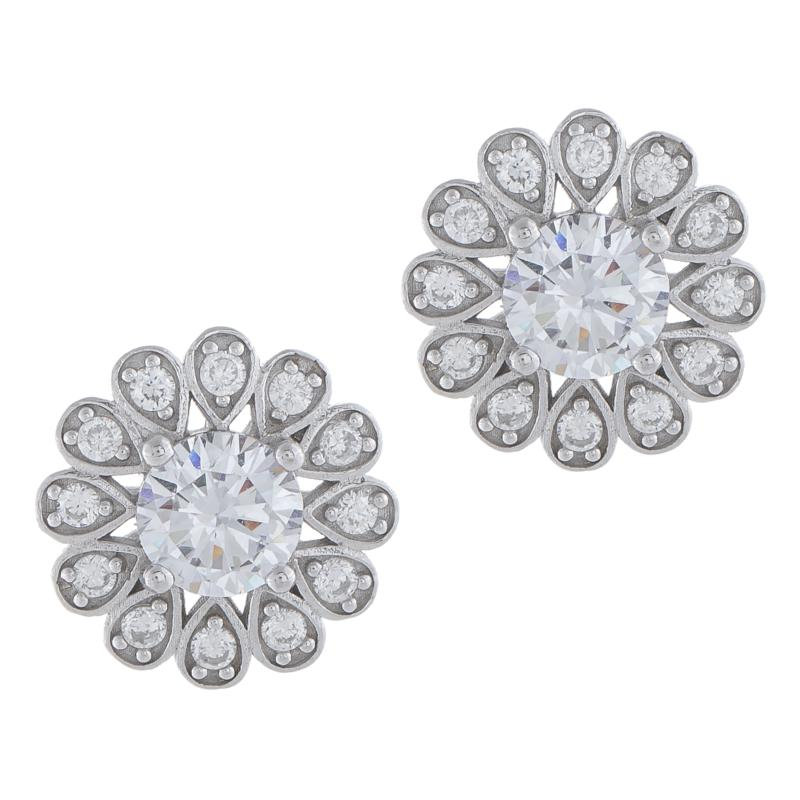 Absolute™ Sterling Silver Cubic Zirconia Floral Style Stud Earrings