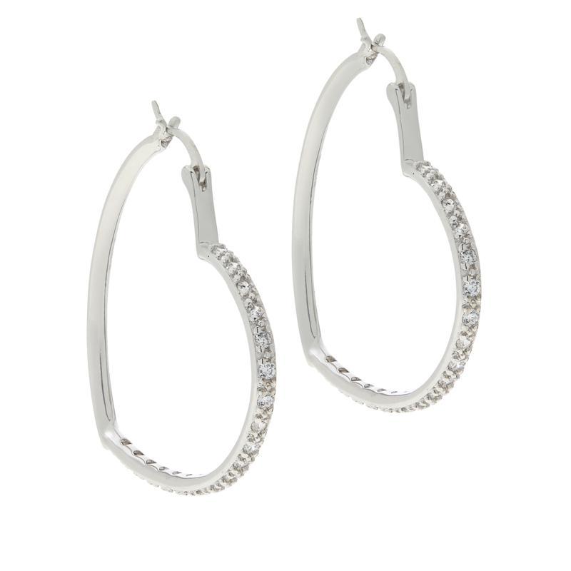 "Absolute™ Sterling Silver Cubic Zirconia Heart Hoop Earrings - 1.5"""