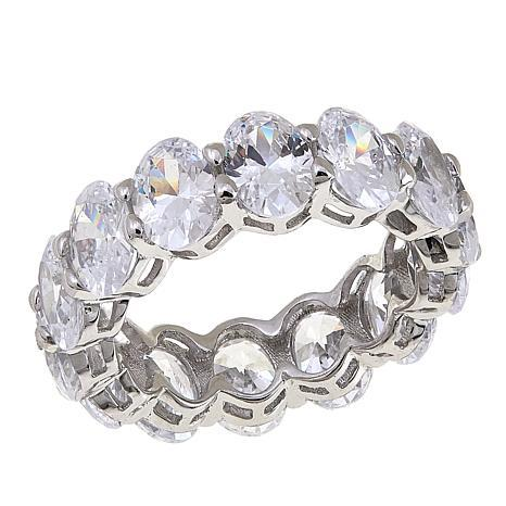 Absolute™ Sterling Silver Cubic Zirconia Oval Eternity Band Ring