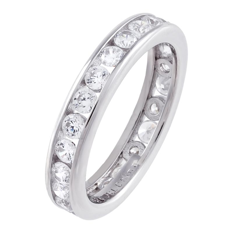Absolute™ Sterling Silver Cubic Zirconia Round Channel Eternity Ring