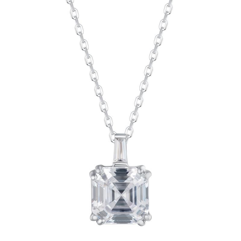 Absolute™ Sterling Silver CZ Asscher-Cut and Baguette Drop Necklace