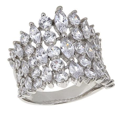 Absolute™ Sterling Silver CZ Marquise and Round Shield Ring