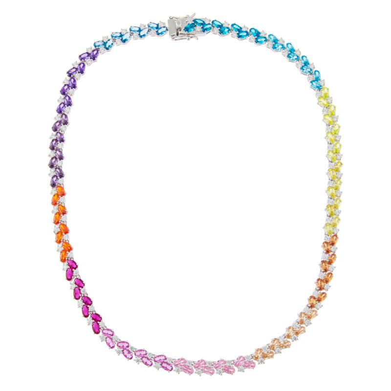 Absolute™ Sterling Silver CZ Rainbow Round and Oval Tennis Necklace