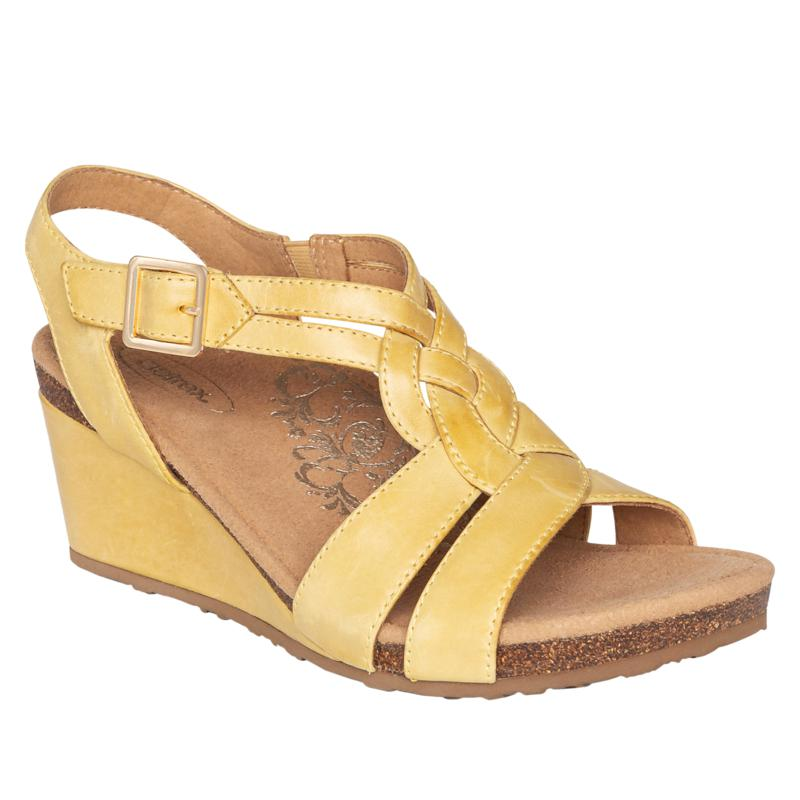 Aetrex® Kiera Leather Wedge Sandal