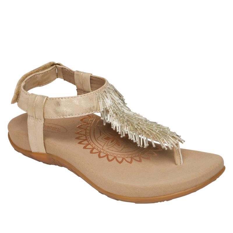 Aetrex® Portia Orthotic Beaded Fringe Thong Sandal
