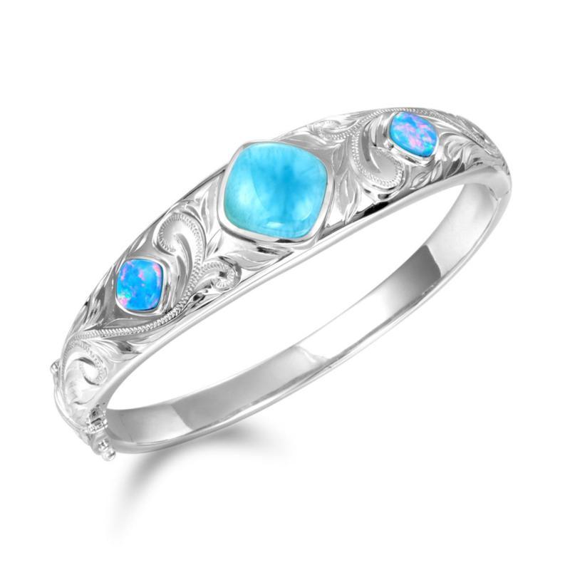 Alamea Sterling Silver Larimar and Synthetic Blue Opal Bangle Bracelet