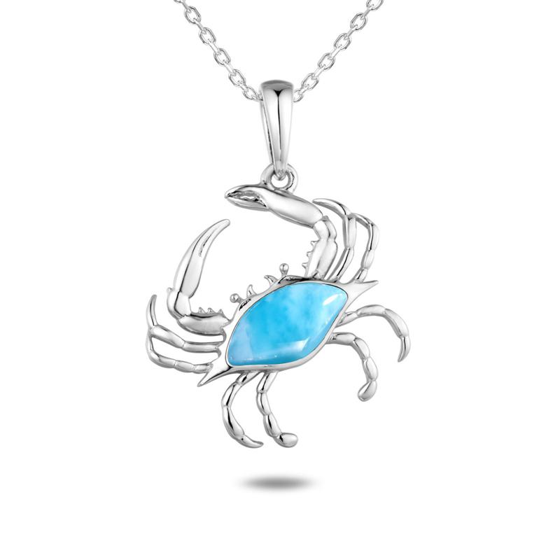 Alamea Sterling Silver Larimar Blue Crab Pendant Necklace