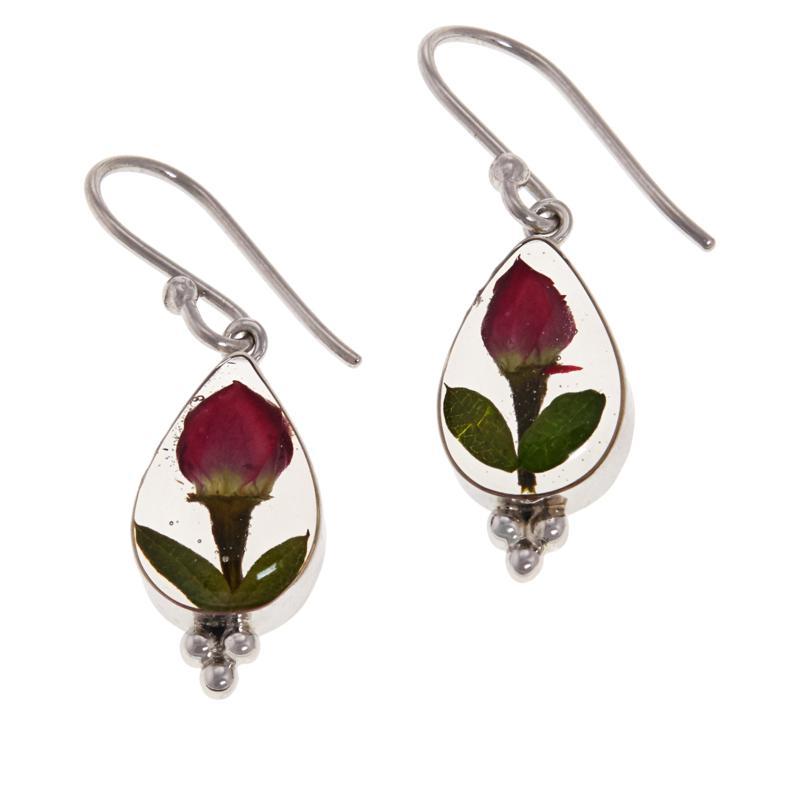 Amena K® Silver Designs Dried Flower Drop Earrings