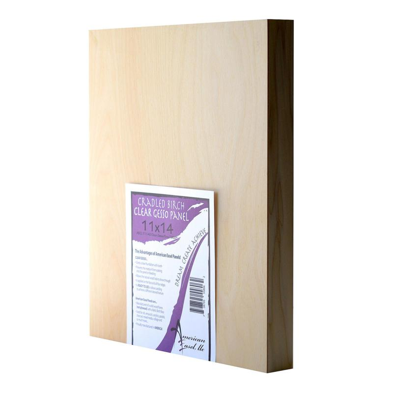 """American Easel 11"""" x 14"""" Clear Gesso Primed Wood Painting Panel"""