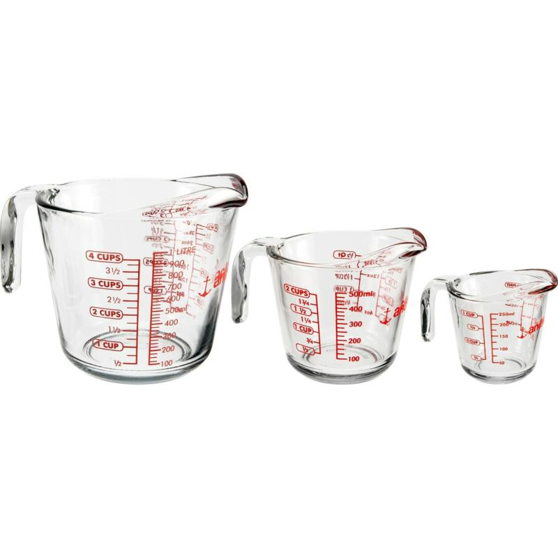Anchor Hocking Glass Open-Handle Measuring Cup, 3-Pc Set