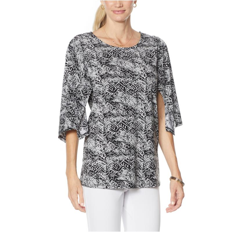 Antthony Kimono-Sleeve Batik Print Top