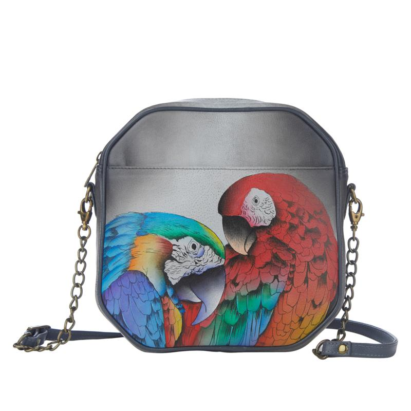 Anuschka Hand-Painted Leather Crossbody with Credit Card Case