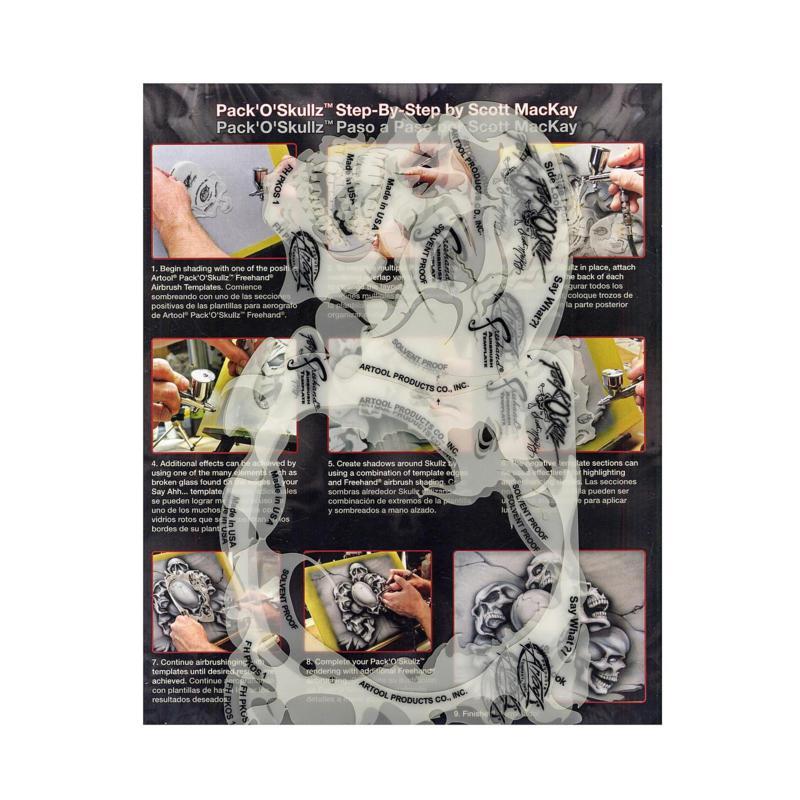 Artool Pack of Skulls Freehand Airbrush Templates PKOS1 Set of 3