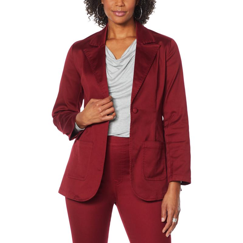 """As Is"" DG2 by Diane Gilman FLEXstretch Tailored Blazer"