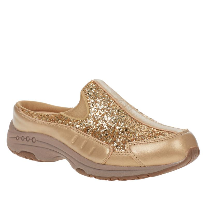 """""""As Is"""" easy spirit Traveltime Leather Glitter Clog"""