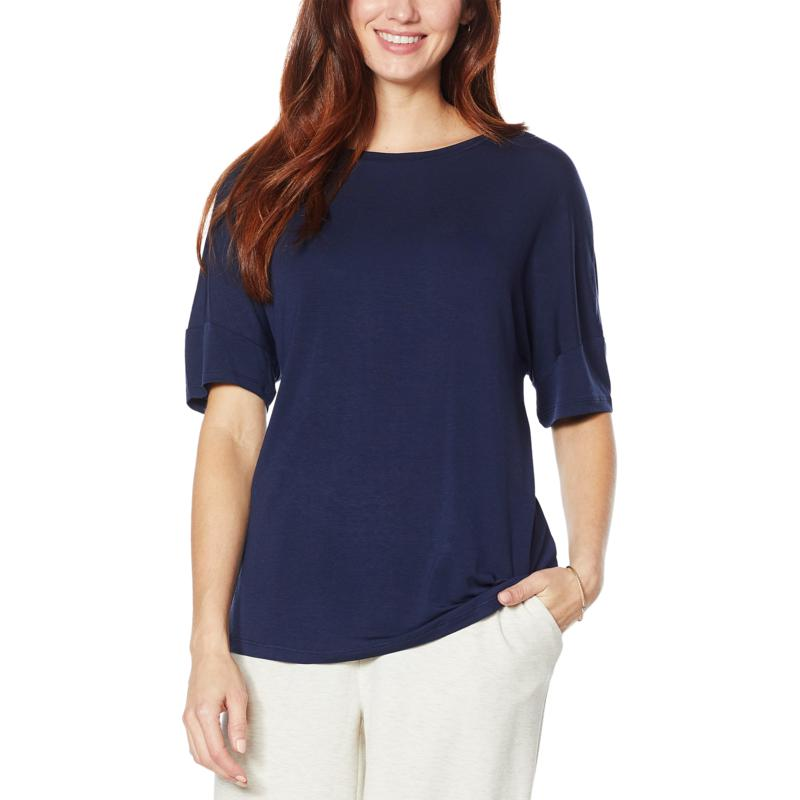 """As Is"" H Halston Jersey Knit Elbow-Sleeve Tee"
