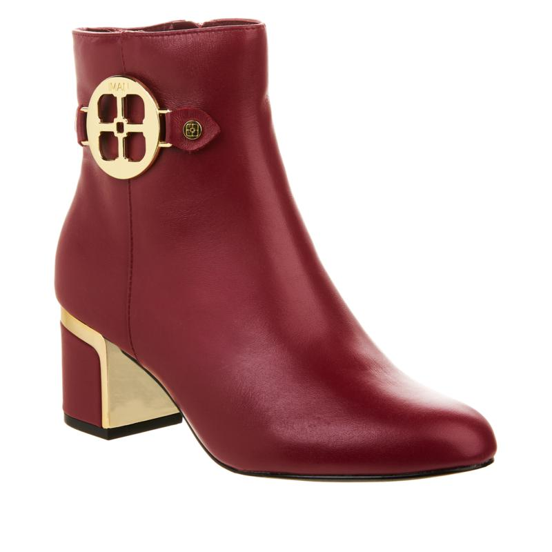 """""""As Is"""" IMAN Global Chic Leather Bootie with Metal Logo Detail"""