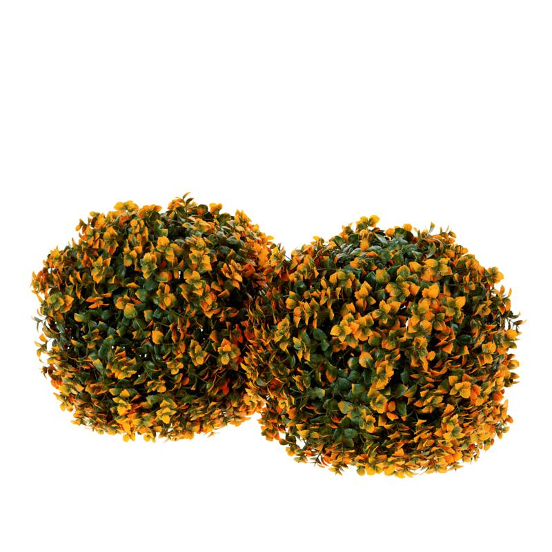 """""""As Is"""" Improvements 13"""" Boxwood Sphere with Lights - Set of 2"""
