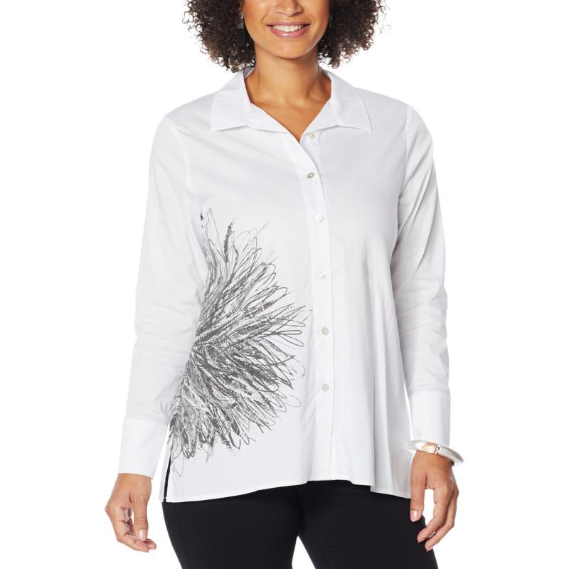 """""""As Is"""" MarlaWynne Printed Stretch Poplin Shirt"""