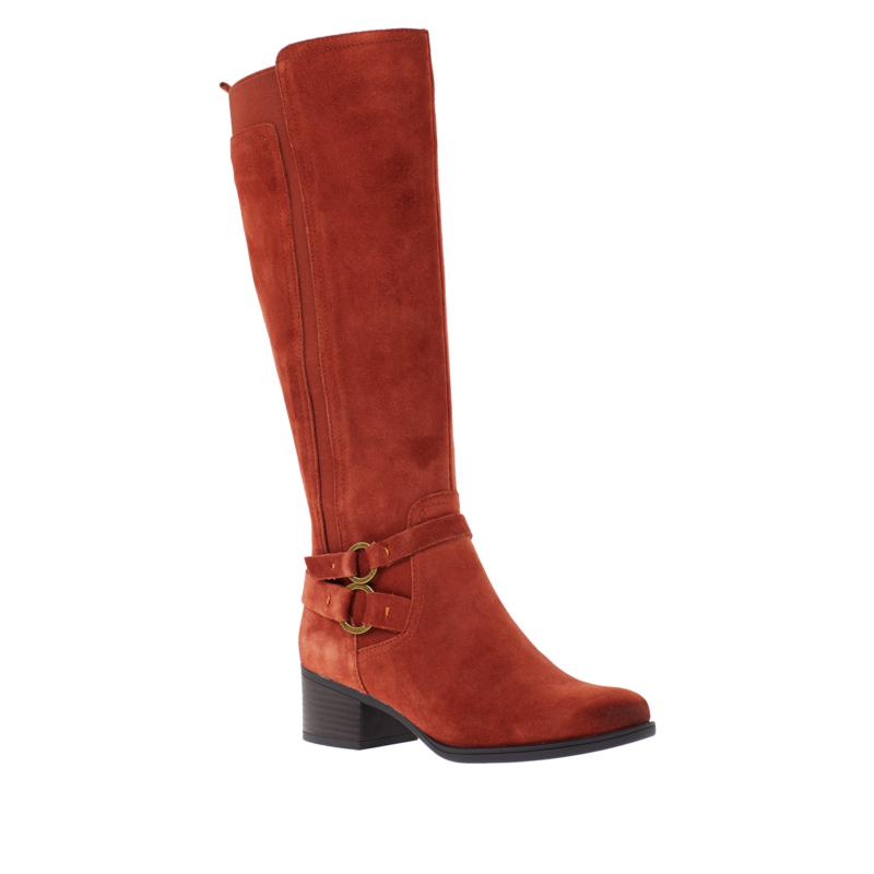 """As Is"" Naturalizer Kiana Leather or Suede Riding Boot - Wide Calf"