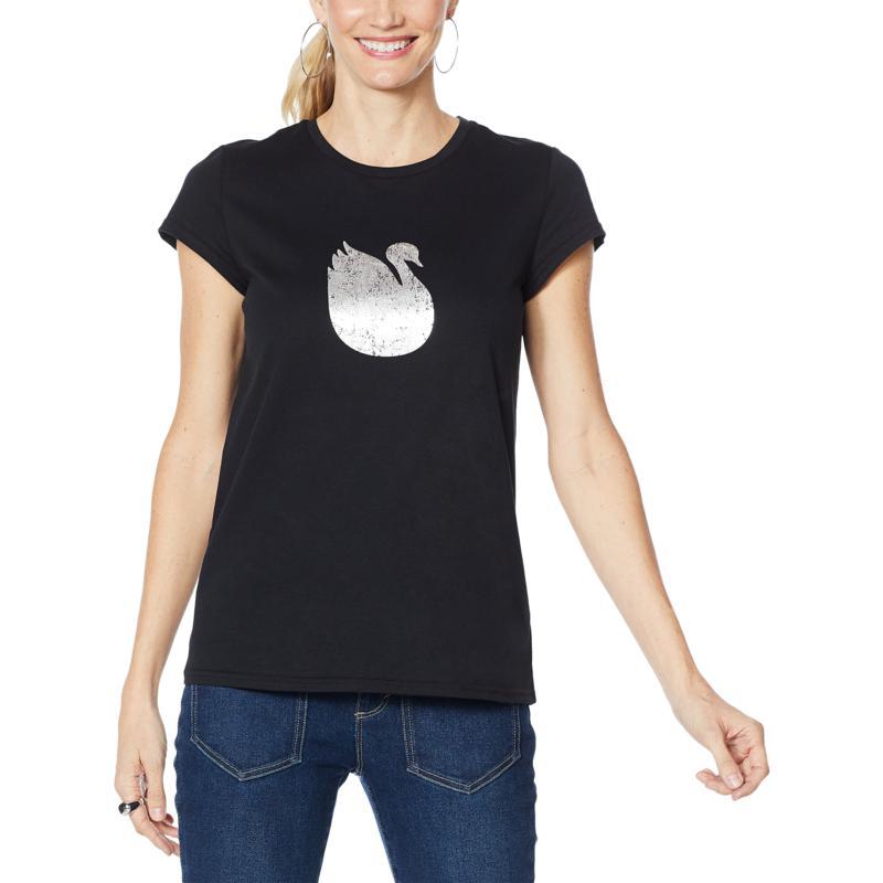 """""""As Is"""" Vanderbilt Jeans Swan-Print T-Shirt"""