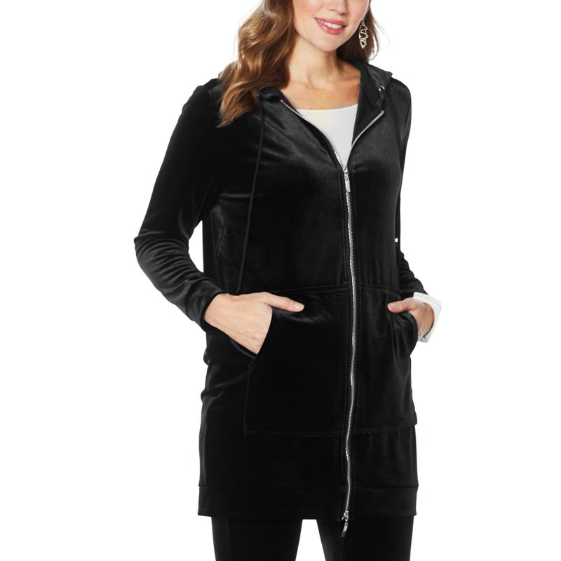 """""""As Is"""" WynneLayers Stretch Velvet Zip-Front Hooded Coat"""