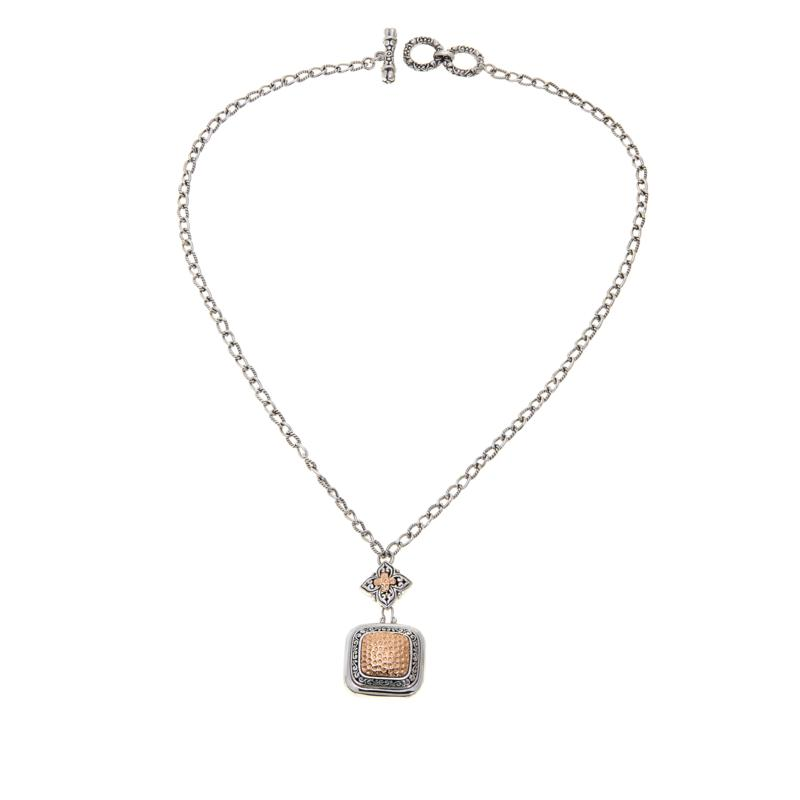 Bali RoManse 2-Tone Rose and Hammered Pendant Necklace