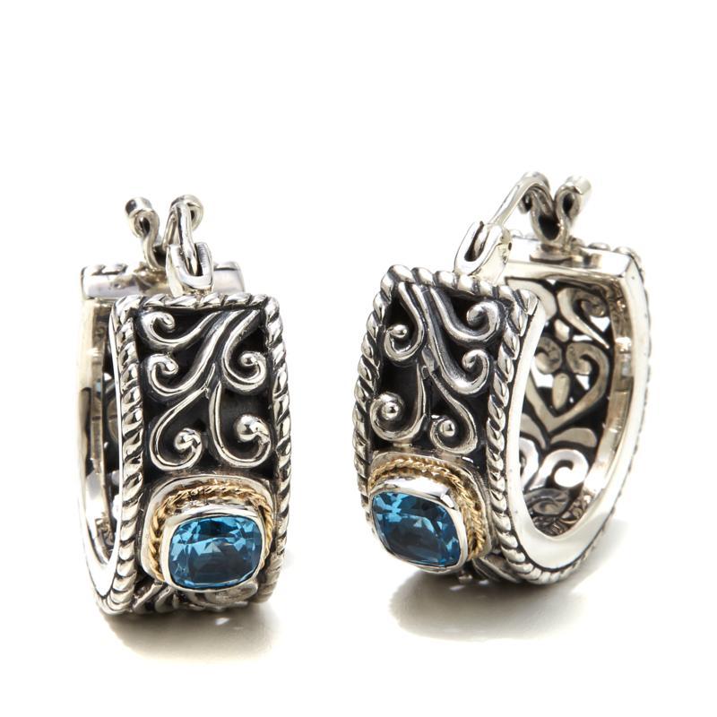 Bali RoManse Blue Topaz Small Scroll Hoop Earrings