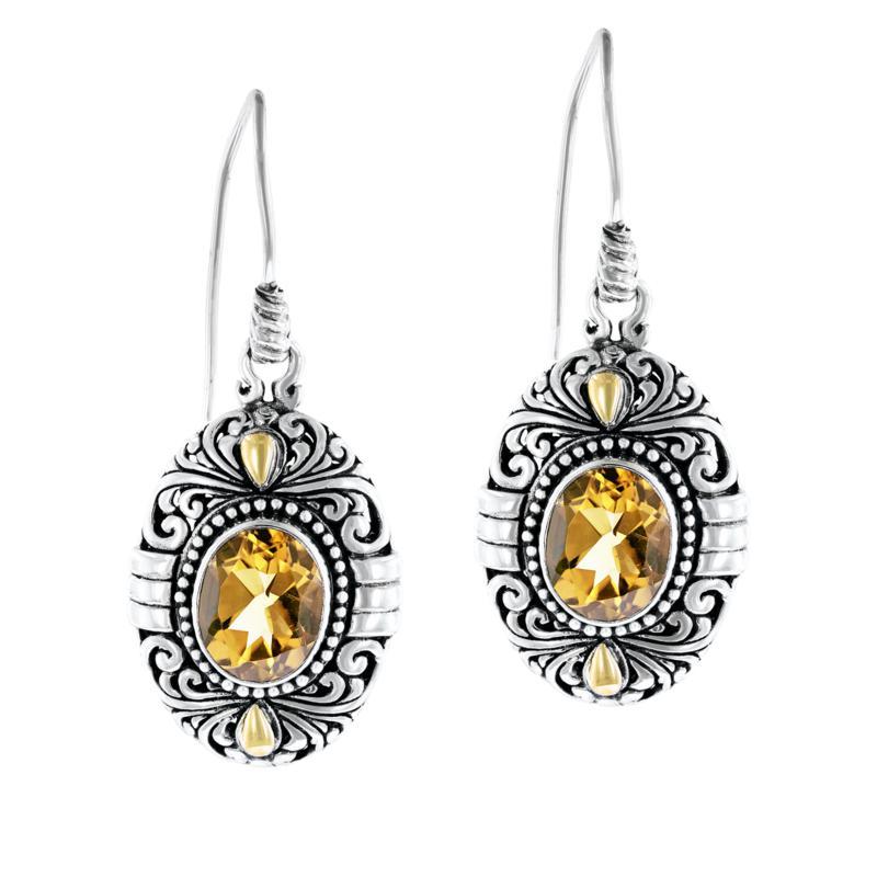 Bali RoManse by Robert Manse Sterling Silver Oval Gem Drop Earrings