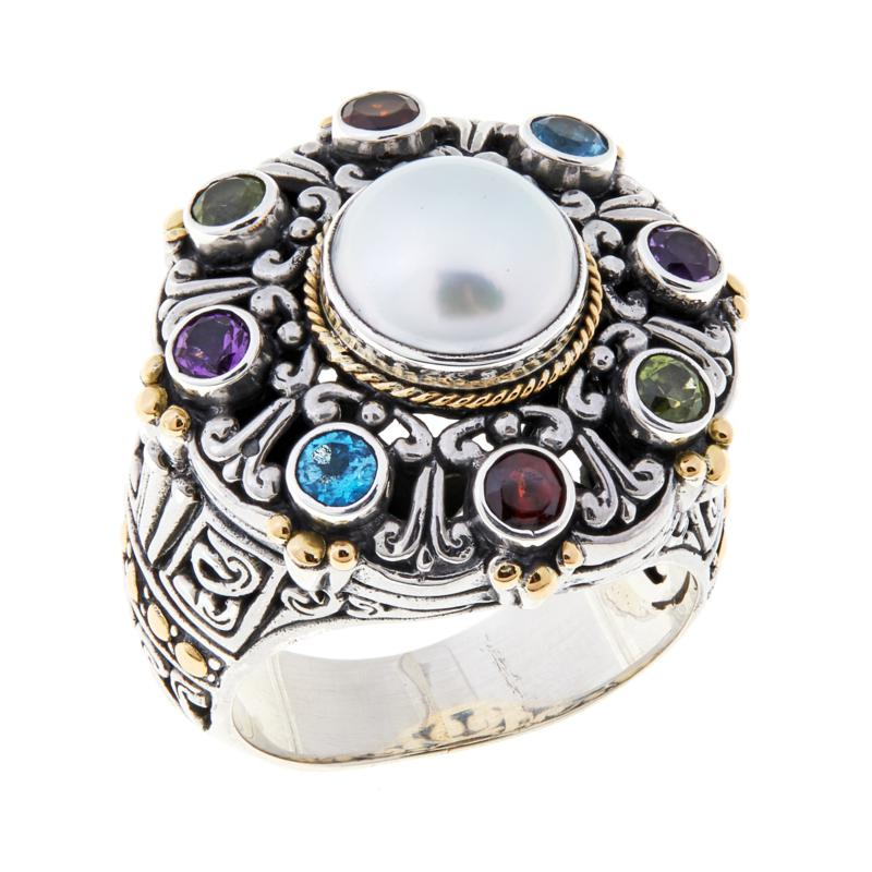 Bali RoManse Cultured Freshwater Pearl & Gem Ring