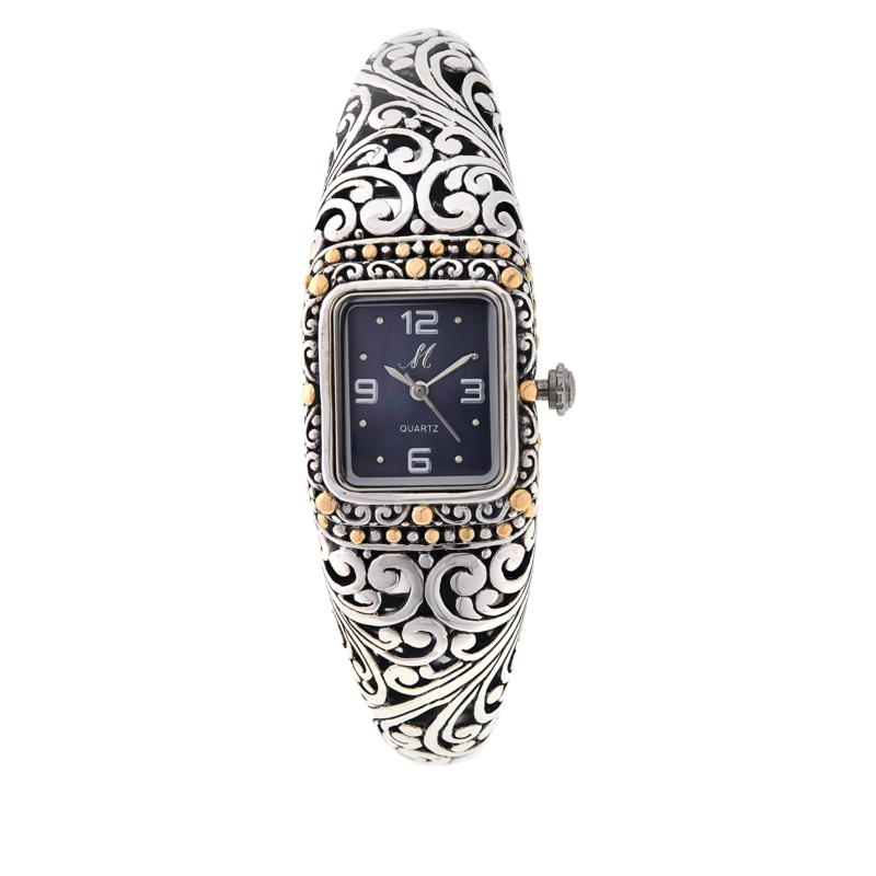 """Bali RoManse """"Sanga"""" 18K Gold Accent Mother-of-Pearl Dial Cuff Watch"""