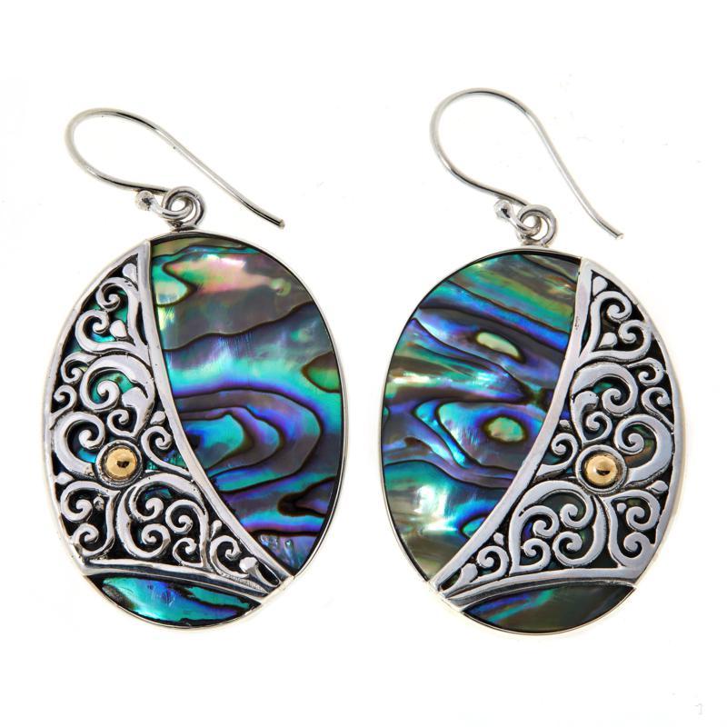 Bali RoManse Sterling Silver Abalone Doublet Oval Drop Earrings