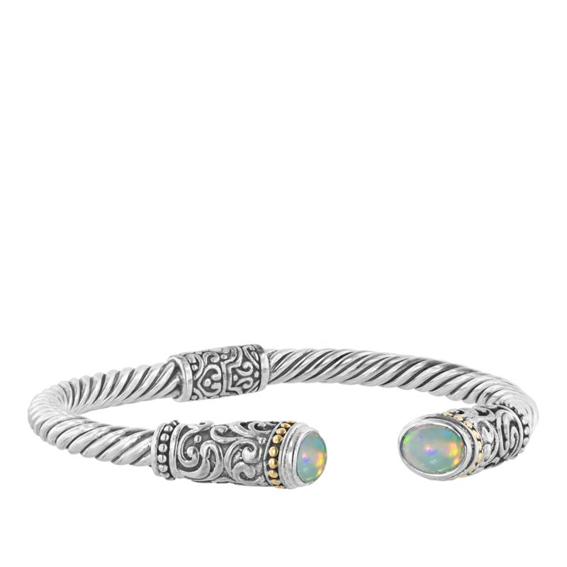 Bali RoManse Sterling Silver and 18K Ethiopian Opal Hinged Cable Cuff