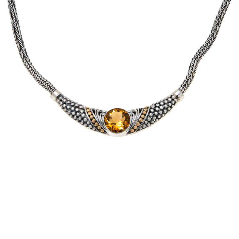 Bali RoManse Sterling Silver and 18K Gem Popcorn Pattern Necklace