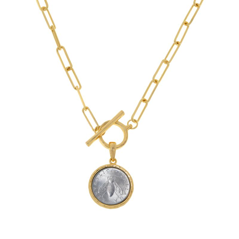 """Bellezza 18"""" Bee Lira Coin Oval Link Drop Necklace"""